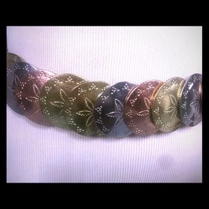 Vintage Multi Color Metal Disc Stretch Belt